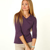 LA T Ladies' Combed Ring-Spun Jersey V-Neck 3/4-Sleeve T-Shirt