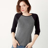 + Canvas Ladies' Baby Rib 3/4-Sleeve Contrast Raglan Tee