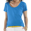 LA T Ladies' Fine Jersey Deep Scoop Neck Longer Length T-Shirt